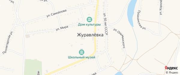 Заречная улица на карте села Журавлевки с номерами домов