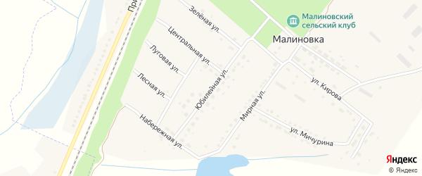 Юбилейная улица на карте поселка Малиновки с номерами домов