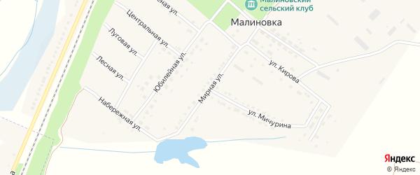 Мирная улица на карте поселка Малиновки с номерами домов