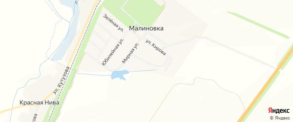 Карта поселка Малиновки в Белгородской области с улицами и номерами домов