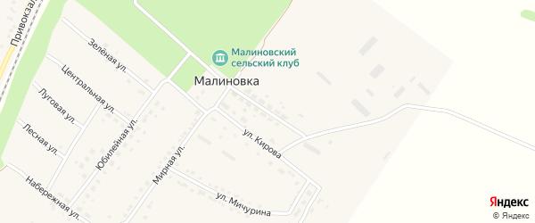 Улица 60 лет Октября на карте поселка Малиновки с номерами домов
