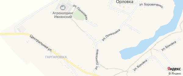 Улица Понизовка на карте села Орловки с номерами домов