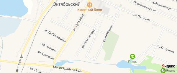 Улица Ломоносова на карте Октябрьского поселка с номерами домов