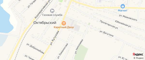 Переулок Кутузова на карте Октябрьского поселка с номерами домов