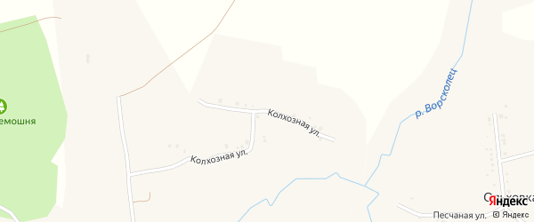 Колхозная улица на карте села Дмитриевки с номерами домов