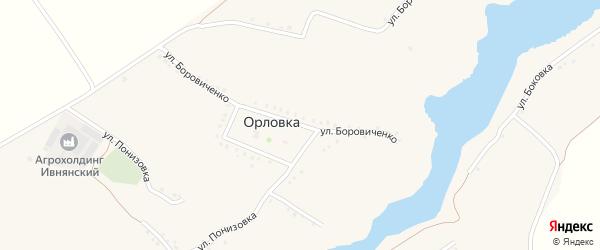 Улица Боровиченко на карте села Орловки с номерами домов