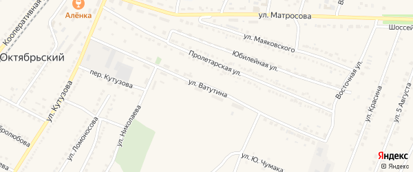 Улица Ватутина на карте Октябрьского поселка с номерами домов