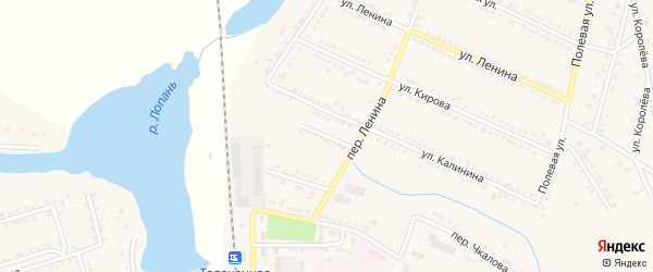 Переулок Калинина на карте Октябрьского поселка с номерами домов