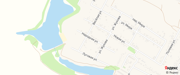 Народная улица на карте села Веселой Лопани с номерами домов
