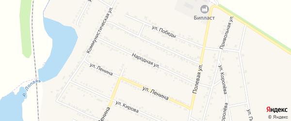 Народная улица на карте Октябрьского поселка с номерами домов