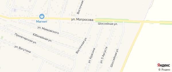 Восточная улица на карте Октябрьского поселка с номерами домов