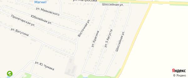 Улица Красина на карте Октябрьского поселка с номерами домов