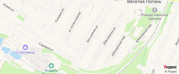 Шоссейная улица на карте села Веселой Лопани с номерами домов