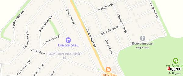 Шоссейная улица на карте Комсомольского поселка с номерами домов