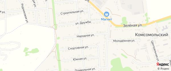 Народная улица на карте Комсомольского поселка с номерами домов
