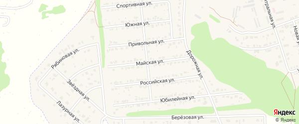 Майская улица на карте Комсомольского поселка с номерами домов