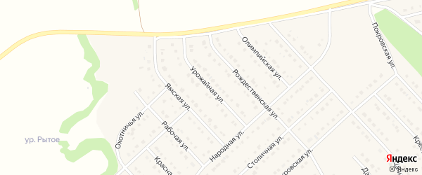 Урожайная улица на карте Стрелецкого села с номерами домов