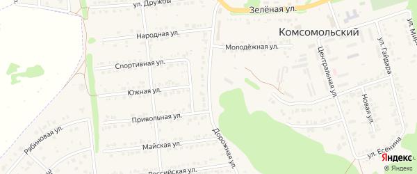 Дорожная улица на карте Комсомольского поселка с номерами домов