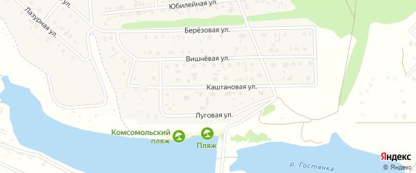 Каштановая улица на карте Комсомольского поселка с номерами домов