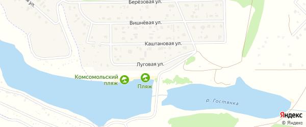 Луговая улица на карте Комсомольского поселка с номерами домов