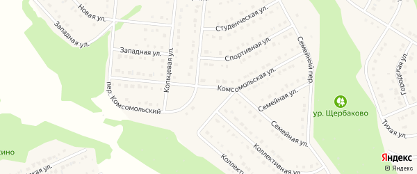 Комсомольская улица на карте Стрелецкого села с номерами домов
