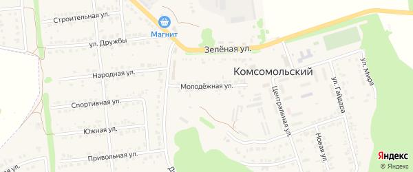 Молодежная улица на карте Комсомольского поселка с номерами домов