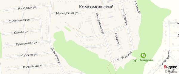 Центральный 1-й переулок на карте Комсомольского поселка с номерами домов