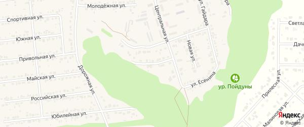 Центральный 2-й переулок на карте Комсомольского поселка с номерами домов