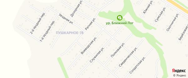 Воеводская улица на карте Пушкарного села с номерами домов