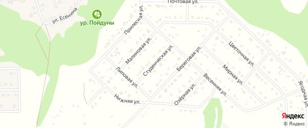 Студенческая улица на карте Комсомольского поселка с номерами домов