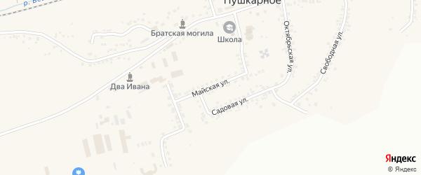 Майская улица на карте Пушкарного села с номерами домов