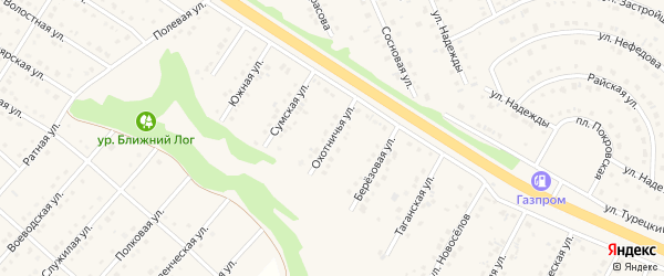 Охотничья улица на карте Пушкарного села с номерами домов