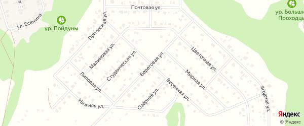 Береговая улица на карте Комсомольского поселка с номерами домов