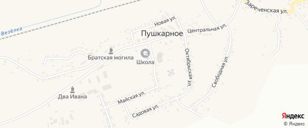 Солнечный переулок на карте Пушкарного села с номерами домов