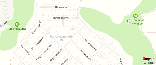 Цветочная улица на карте Комсомольского поселка с номерами домов