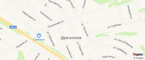 Улица Лермонтова на карте Драгунского села с номерами домов