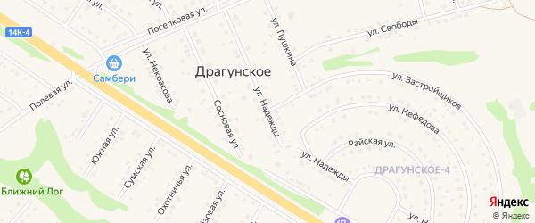 Улица Надежды на карте Драгунского села с номерами домов