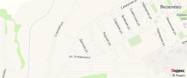 Улица Шахтостроителей на карте поселка Яковлево с номерами домов