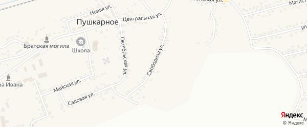 Свободная улица на карте Пушкарного села с номерами домов