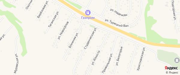 Студенческая улица на карте Пушкарного села с номерами домов