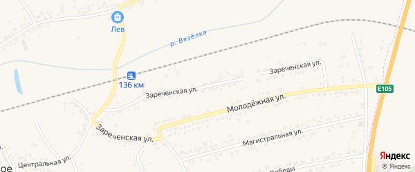 Зареченская улица на карте Пушкарного села с номерами домов