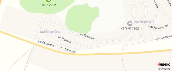 Улица Есенина на карте Майского поселка с номерами домов