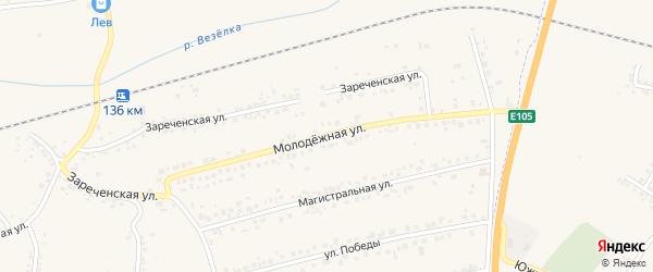 Молодежная улица на карте Пушкарного села с номерами домов