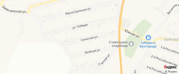Сельская улица на карте Пушкарного села с номерами домов