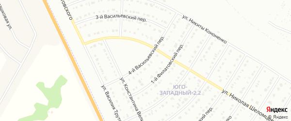 Васильевский 4-й переулок на карте Белгорода с номерами домов