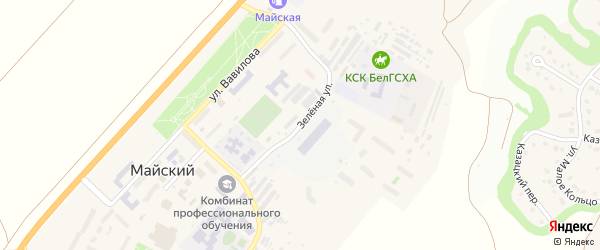 Зеленая улица на карте Майского поселка с номерами домов