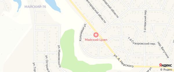 Невский 6-й переулок на карте Майского поселка с номерами домов