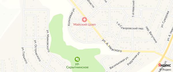 Невский 4-й переулок на карте Майского поселка с номерами домов