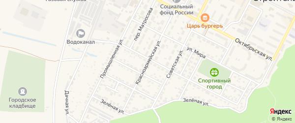 Красноармейская улица на карте Строителя с номерами домов