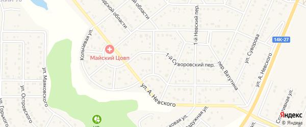 Белгородский переулок на карте Майского поселка с номерами домов